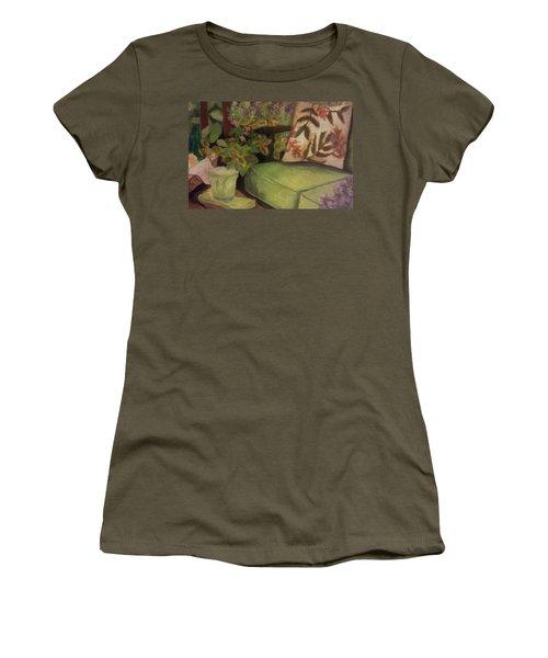 Green Patio Women's T-Shirt (Junior Cut) by Christy Saunders Church