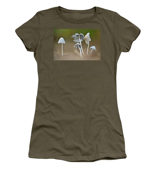 Women's T-Shirt (Junior Cut) featuring the photograph Ink-cap Mushrooms by JD Grimes