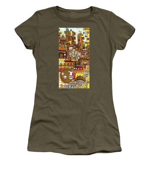 Jerusalem Alleys Tall 5  In Red Yellow Brown Orange Green And White Abstract Skyline Landscape   Women's T-Shirt (Athletic Fit)