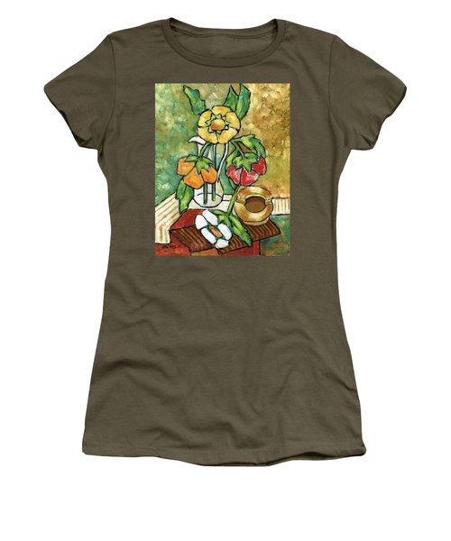 Large Flowers Women's T-Shirt (Junior Cut) by Rachel Hershkovitz