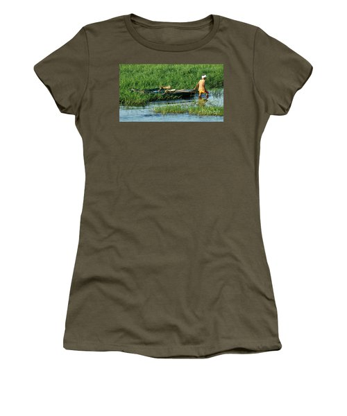 Women's T-Shirt (Junior Cut) featuring the photograph Life Along The Nile by Vivian Christopher