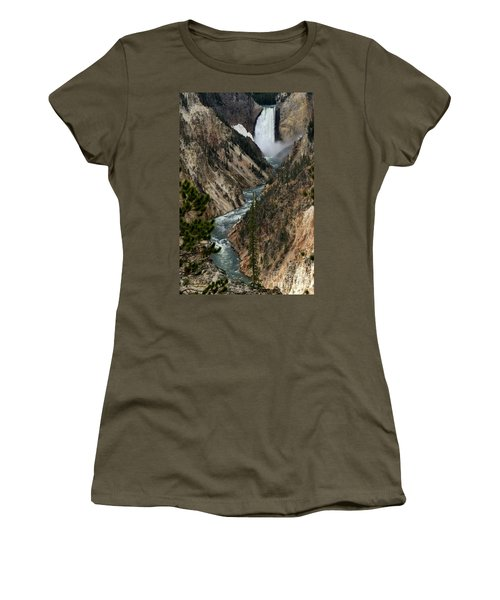 Lower Falls And Yellowstone River Women's T-Shirt (Junior Cut) by Living Color Photography Lorraine Lynch