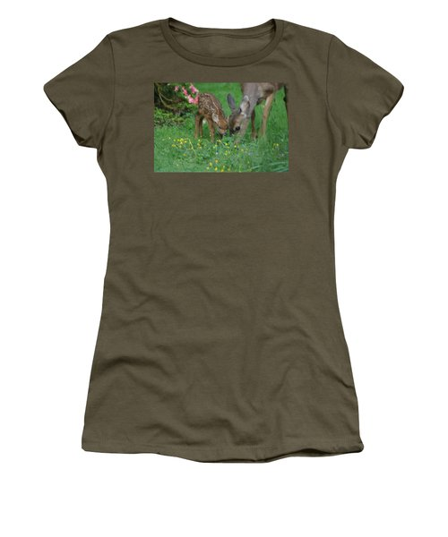 Mama And Spotted Baby Fawn Women's T-Shirt (Junior Cut) by Kym Backland