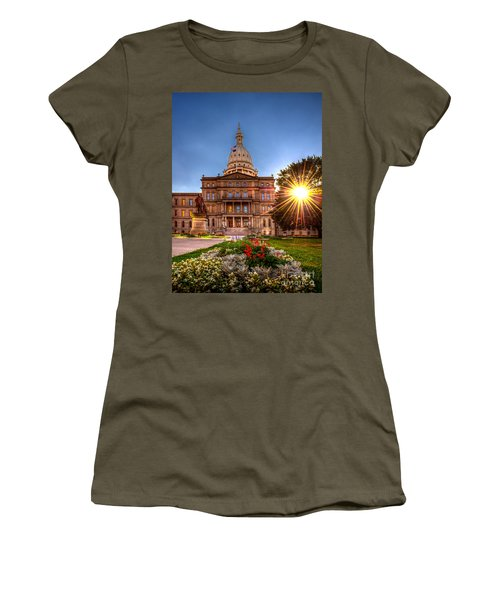 Women's T-Shirt (Junior Cut) featuring the photograph Michigan Capitol - Hdr - 2 by Larry Carr