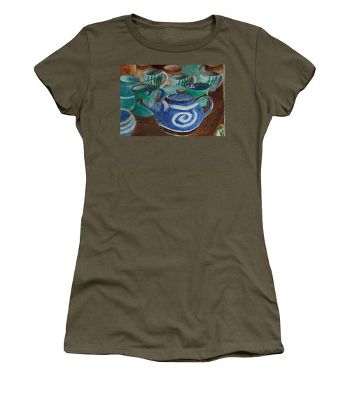 Miniature Teapots And Cups Women's T-Shirt (Junior Cut) by Christy Saunders Church