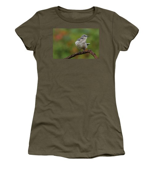 Women's T-Shirt (Junior Cut) featuring the photograph Mocking Bird Perched In The Wind by Daniel Reed
