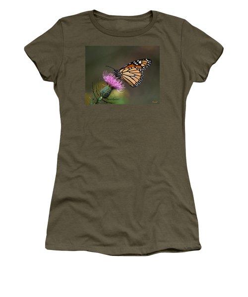 Monarch Butterfly On Thistle 13a Women's T-Shirt (Junior Cut) by Gerry Gantt