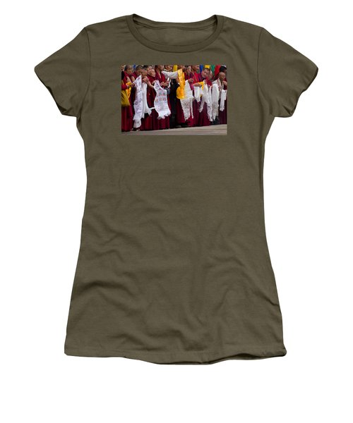 Women's T-Shirt (Junior Cut) featuring the photograph Monks Wait For The Dalai Lama by Don Schwartz
