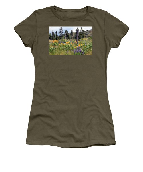 Women's T-Shirt (Junior Cut) featuring the photograph Montana Wildflowers by Athena Mckinzie