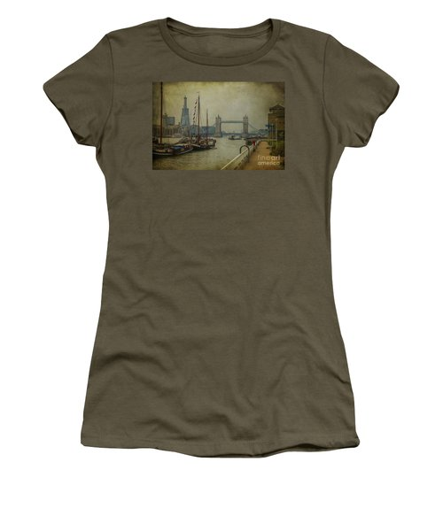 Women's T-Shirt (Junior Cut) featuring the photograph Moored Thames Barges. by Clare Bambers
