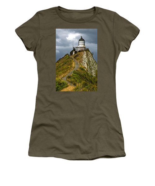 Nugget Point Light House And Dark Clouds In The Sky Women's T-Shirt