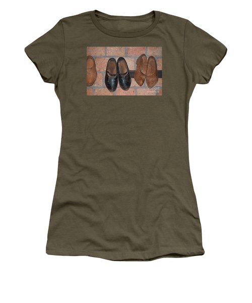 Women's T-Shirt (Junior Cut) featuring the digital art Old Wooden Shoes by Carol Ailles