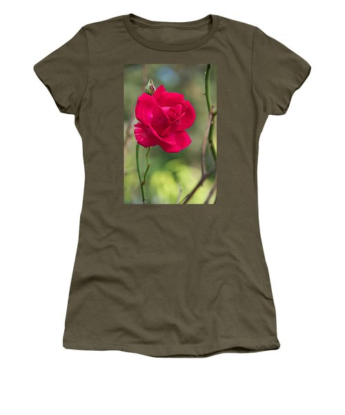 Women's T-Shirt (Junior Cut) featuring the photograph One Rose by Joseph Yarbrough