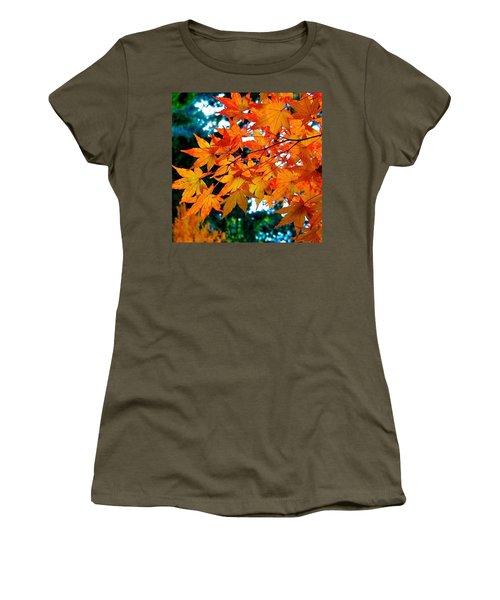 Orange Maple Leaves Women's T-Shirt