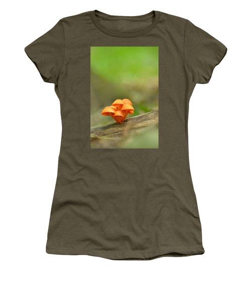 Women's T-Shirt (Junior Cut) featuring the photograph Orange Mushrooms by JD Grimes