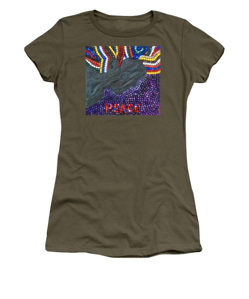 Women's T-Shirt featuring the painting Peace Man by Cynthia Amaral