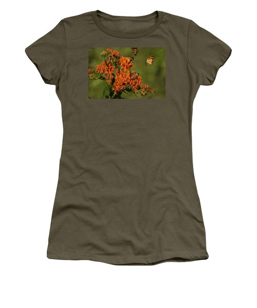 Women's T-Shirt (Junior Cut) featuring the photograph Pearly Crescentpot Butterflies Landing On Butterfly Milkweed by Daniel Reed