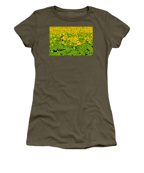 Women's T-Shirt (Junior Cut) featuring the photograph Peeking Above  Sea Of Yellow by Colleen Coccia