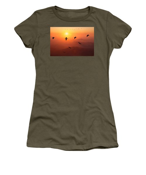 Women's T-Shirt (Junior Cut) featuring the photograph Pelican Migration by Chris Lord