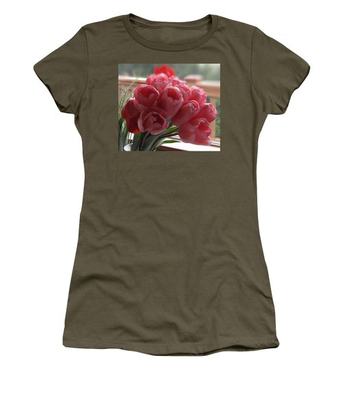 Women's T-Shirt (Junior Cut) featuring the photograph Pink Tulips In Vase by Katie Wing Vigil
