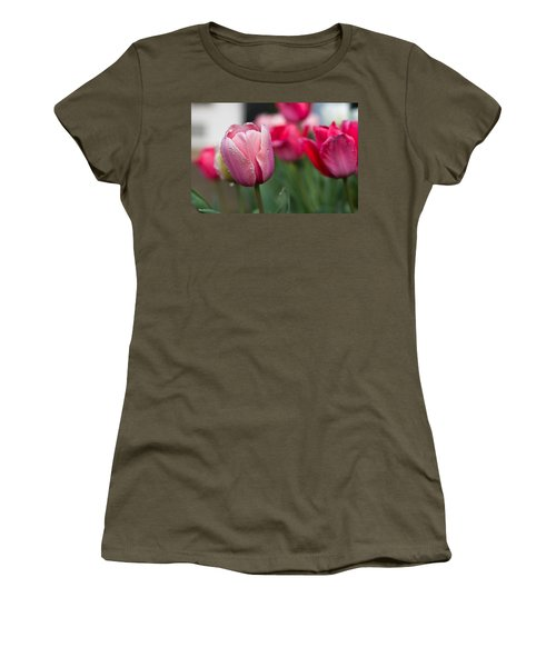 Pink Tulips With Water Drops Women's T-Shirt (Athletic Fit)