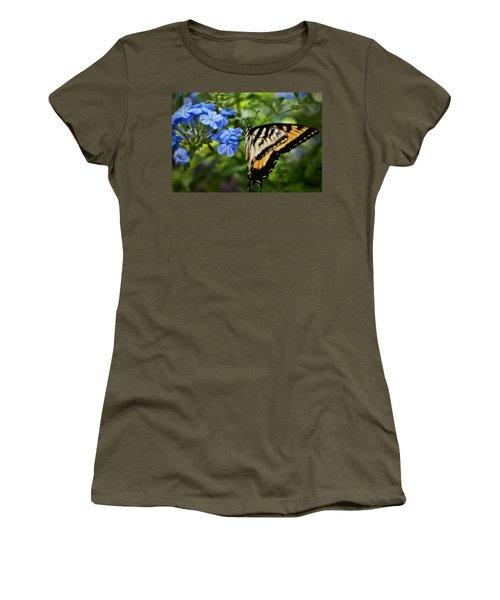 Women's T-Shirt (Junior Cut) featuring the photograph Plumbago And Swallowtail by Steven Sparks
