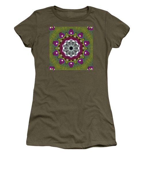 Women's T-Shirt (Junior Cut) featuring the digital art Purple Snakeskin Flower by Alec Drake