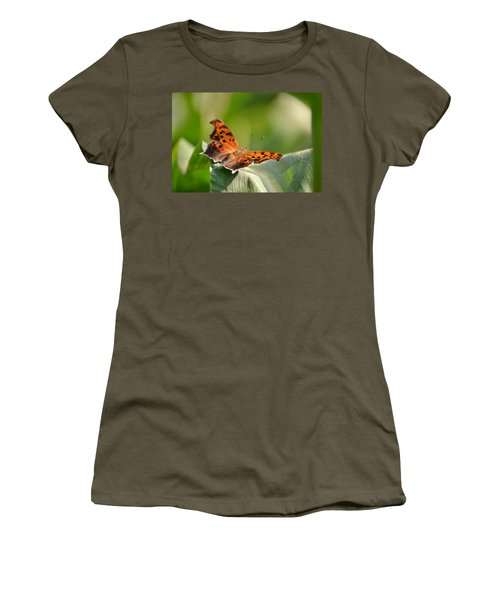 Women's T-Shirt (Junior Cut) featuring the photograph Question Mark Butterfly by JD Grimes