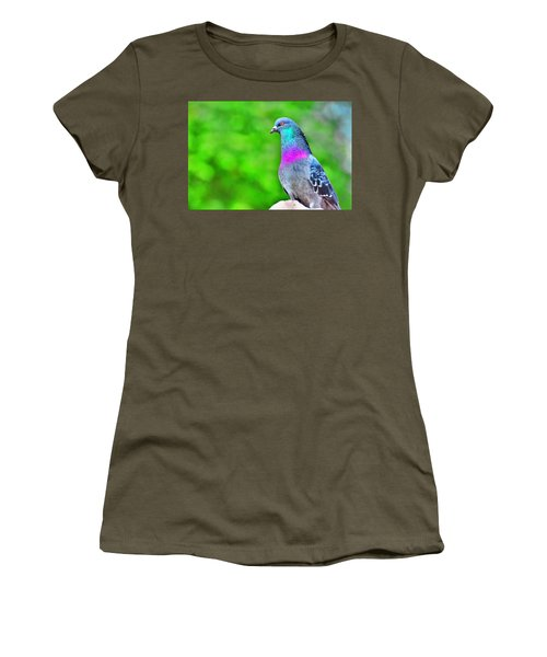 Rainbow Pigeon Women's T-Shirt (Athletic Fit)