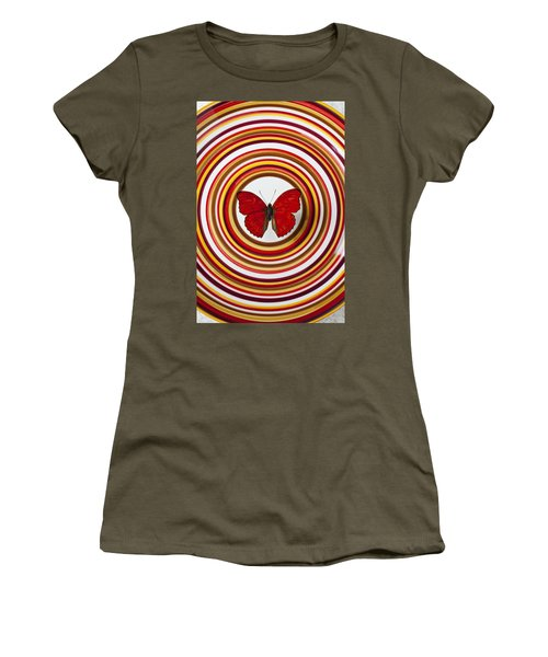 Red Butterfly On Plate With Many Circles Women's T-Shirt