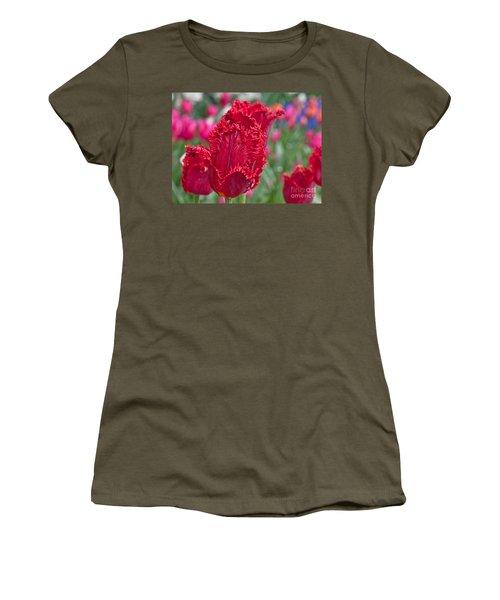 Red Fringed Tulip Flower Macro Art Prints Women's T-Shirt