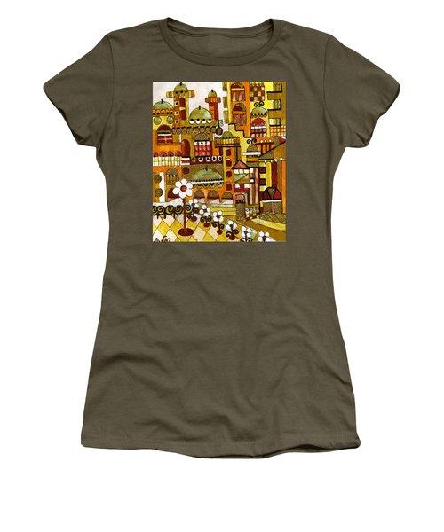 Red Kasba Skyline Landscape Art Of Old Town Dome And Minarett Decorated With Flower Arch In Orange Women's T-Shirt (Junior Cut) by Rachel Hershkovitz