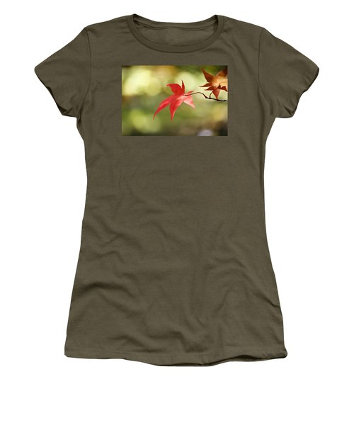 Women's T-Shirt (Junior Cut) featuring the photograph Red Leaf. by Clare Bambers