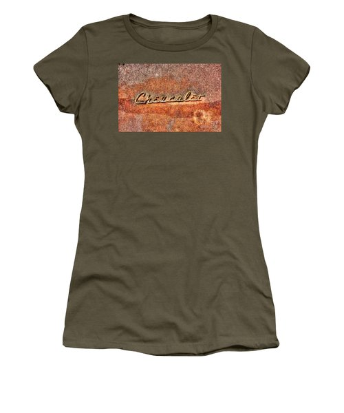 Rusted Antique Chevrolet Logo Women's T-Shirt (Junior Cut) by Dan Stone