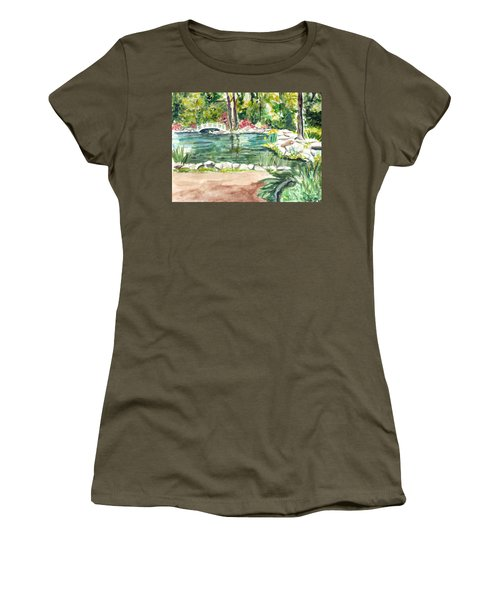 Women's T-Shirt (Junior Cut) featuring the painting Sayen Pond by Clara Sue Beym