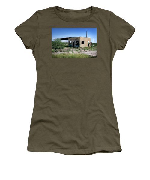 Women's T-Shirt (Junior Cut) featuring the photograph Somewhere On The Old Pecos Highway Number 7 by Lon Casler Bixby