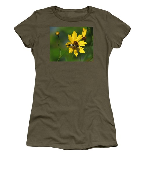 Striped Bee On Wildflower Women's T-Shirt