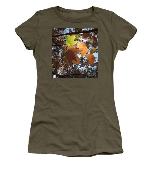Women's T-Shirt (Junior Cut) featuring the photograph Sun-lite Fall Leaves by Donna Brown