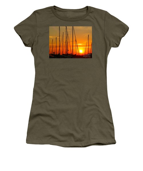 Sunset In A Harbour Digital Photo Painting Women's T-Shirt (Athletic Fit)