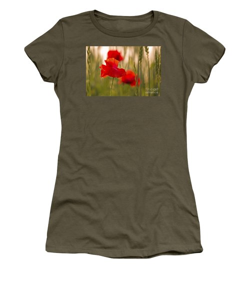 Women's T-Shirt (Junior Cut) featuring the photograph Sunset Poppies. by Clare Bambers