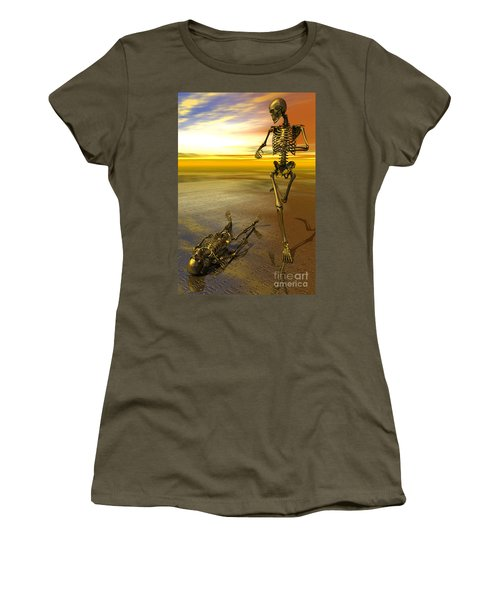Surreal Skeleton Jogging Past Prone Skeleton With Sunset Women's T-Shirt (Athletic Fit)