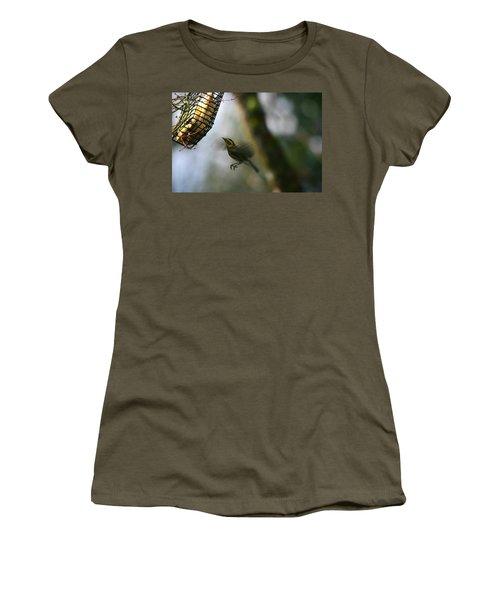 Townsend Warbler In Flight Women's T-Shirt (Junior Cut) by Kym Backland