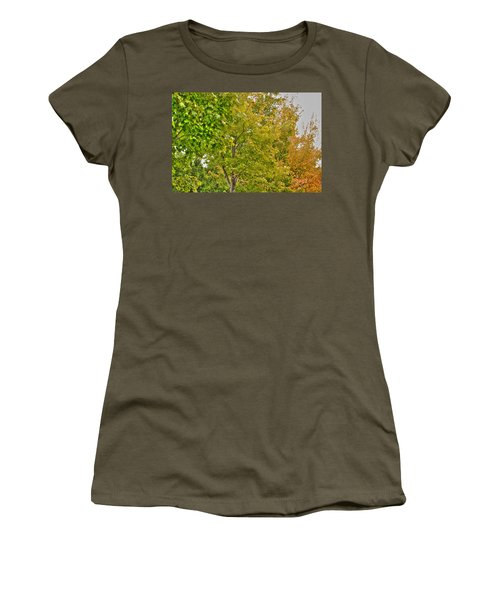 Women's T-Shirt (Junior Cut) featuring the photograph Transition Of Autumn Color by Michael Frank Jr