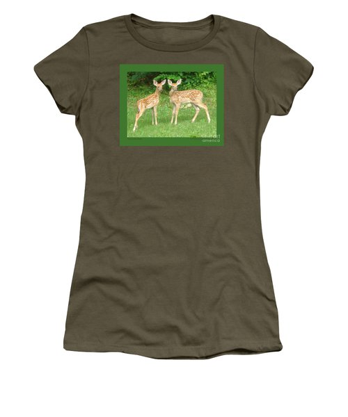 Women's T-Shirt (Junior Cut) featuring the photograph Two Little Deer by Patricia Overmoyer