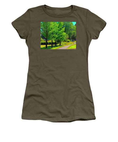 Women's T-Shirt (Junior Cut) featuring the mixed media Van Gogh Trees by Terence Morrissey