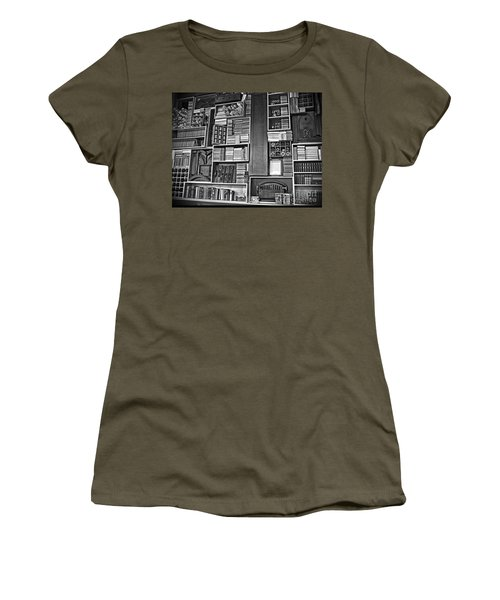 Women's T-Shirt (Junior Cut) featuring the photograph Vintage Bookcase Art Prints by Valerie Garner