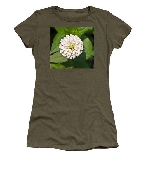 Women's T-Shirt (Junior Cut) featuring the photograph White Zinnia And Green Leaves by Susan Leggett