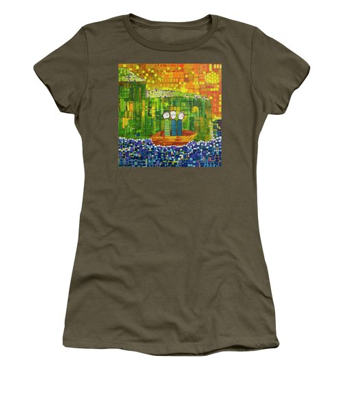 Women's T-Shirt (Junior Cut) featuring the painting Wink Blink And Nod by Donna Howard