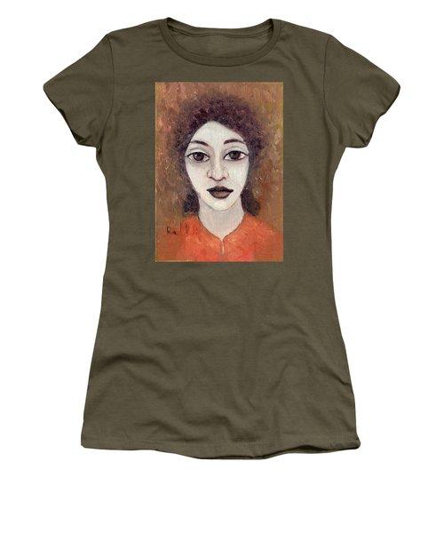 Woman With Large Dark Brown Eyes And Hair Orange Shirt Dark Eyebrows  Women's T-Shirt (Junior Cut) by Rachel Hershkovitz