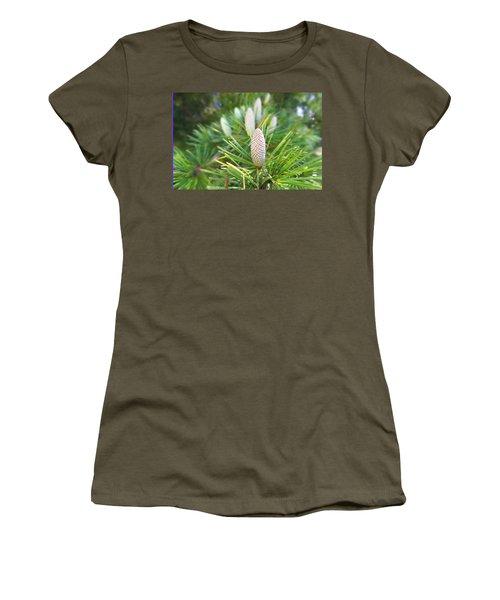 Young Pine Cones Women's T-Shirt (Junior Cut) by Anne Mott
